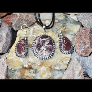 Coconut Jasper Pendant & Earrings Set